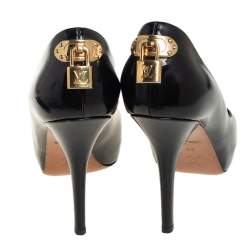 Louis Vuitton Amarante Patent Leather Oh Really! Peep Toe Platform Pumps Size 38