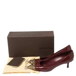 Louis Vuitton Burgundy Patent Leather Bernice Studded Pointed Toe Pumps Size 41