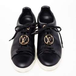 Louis Vuitton Black Leather Front Row Line Sneakers Size 38