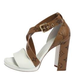 Louis Vuitton White/Brown Monogram Canvas and Leather Matchmake Sandals Size 36