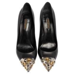 Louis Vuitton Black Leather Bernice Pointed Toe Pumps Size 38.5