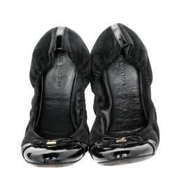 Louis Vuitton Black Suede and Patent Leather Elba Scrunch Ballet Flats Size 39