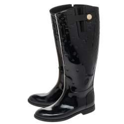 Louis Vuitton Black Patent Leather Drop High Rain Knee Length Boots Size 37