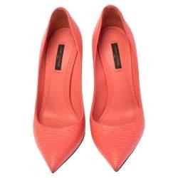 Louis Vuitton Orange Epi Leather Eyeline Pointed Toe Pumps Size 38.5