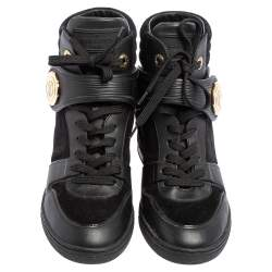 Louis Vuitton Black Epi Leather and Suede Wedge Sneakers Size 37