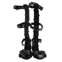 Louis Vuitton Black Leather Fleur Gladiator Sandals Size 36