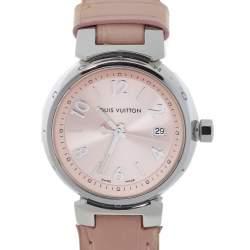 Louis Vuitton Pink Stainless Steel Alligator Leather Tambour Q121X Women's Wristwatch 28 MM