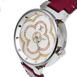 Louis Vuitton White Diamonds Stainless Steel Tambour Moon Divine Women's Wristwatch 35MM
