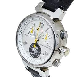 Louis Vuitton White Stainless Steel Tambour Chrono Lovely Cup Q132C Women's Wristwatch 34 MM
