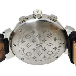 ساعة يد نسائية لوي فيتون تامبور كرونو لوفلي كاب Q132C ستانلس ستيل بيضاء 34 مم