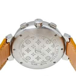 Louis Vuitton Brown Stainless Steel Alligator Skin Leather Tambour Q1121 Women's Wristwatch 41 mm