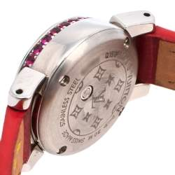 Louis Vuitton Mother Of Pearl Stainless Steel & Leather Diamonds Tambour Bijou Q151F Women's Wristwatch 18 mm