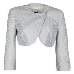 M Missoni Metallic Powder Blue Textured Cropped Jacket M