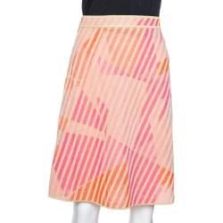 M Missoni Pink & Orange Metallic Knit A-Line Skirt M