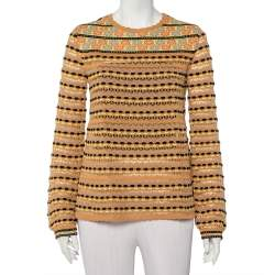 M Missoni Beige Straw Perforated Knit Long Sleeve Top L