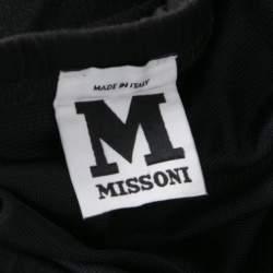 M Missoni Black Knit Elasticized Waist Midi Skirt M