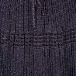 M Missoni Purple Lurex Perforated Knit Pleated Skirt M