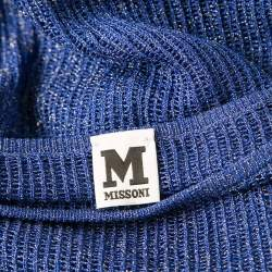 M Missoni Blue Lurex Perforated Knit Oversized Top S