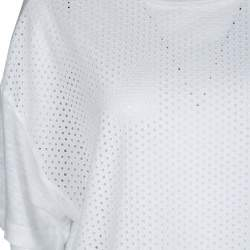 M Missoni White Knit Eyelet Panel Detail Short Sleeve Top M
