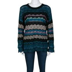 M Missoni Multicolor Patterned Perforated Knit Sweater S