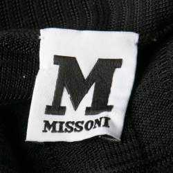 M Missoni Black Patterned Rib Trim Short Sleeve Cardigan S