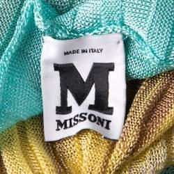 M Missoni Multicolor Ribbed Knit Boat Neck Top L