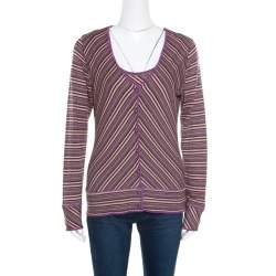 M Missoni Purple Lurex Striped Knit Sleeveless Top and Cardigan Set M