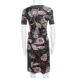 M Missoni Black Printed Silk Jersey Patch Pocket Detail Wrap Dress S