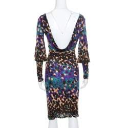 M Missoni Multicolor Dot Printed Stretch Knit Scoop Back Dress S