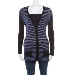 M Missoni Black Contrast Crochet Front Panel Ribbed Cardigan M