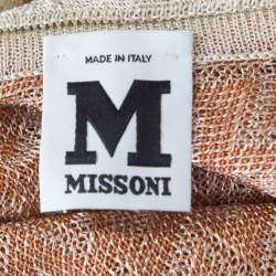 M Missoni Burnt Orange Chevron Tie Up Detail Sleeveless Top M