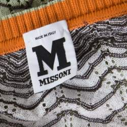 M Missoni Multicolor Perforated Knit Three Quarter Sleeve Buttoned Top M