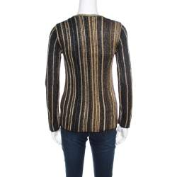 M Missoni Multicolor Striped Chunky Lurex Knit Crew Neck Sweater S