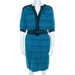 M Missoni Blue and Green Patterned Knit Short Sleeve Tunic Dress S