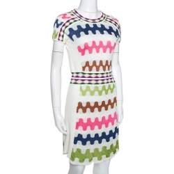 M Missoni Off White Wavy Patterned Linen Blend Knit Dress M