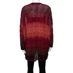 M Missoni Red Wavy Textured Knit Button Front Cardigan M