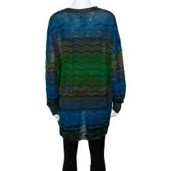 M Missoni Blue Wavy Textured Knit Button Front Cardigan M