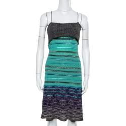 M Missoni Green Textured Merino Wool Knit Noodle Strap Dress M