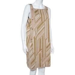 M Missoni Metallic  Zig Zag Pattern Knit Sleeveless Midi Dress L