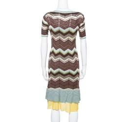 M Missoni Multicolor Cotton Knit Scoop Neck Skater Dress M