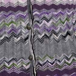 M Missoni Purple Chevron Knit Tie Up Top and Cardigan Set L