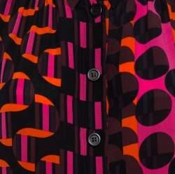 M Missoni Multicolor Geo Print Crepe de chine Silk Shirt L