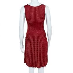 M Missoni Crimson Red Perforated Lurex Knit Sleeveless Fit & Flare Dress S