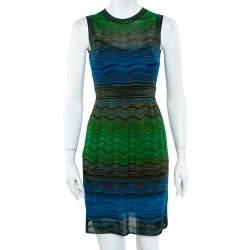 M Missoni Multicolor Wave Knit Sleeveless Flared Midi Dress S