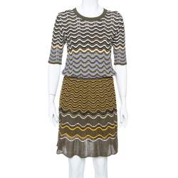 M Missoni Olive Green Contrast Pattern Knit Drop Waist Dress L