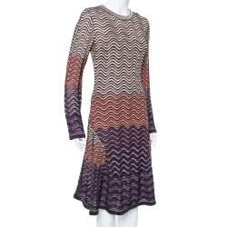 M Missoni Multicolor Lurex Wave Knit Flared Long Sleeve Dress L