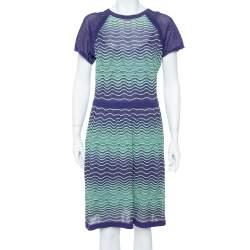 M Missoni Bicolor Wave Knit Drop Waist Dress & Button Front Cardigan Set L