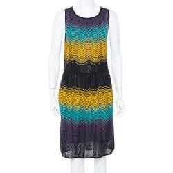 M Missoni Muticolor Chevron Patterned Pointelle Knit Dress L