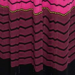 M Missoni Pink Chevron Patterned Perforated Knit Maxi Dress M
