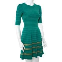 M Missoni Green Striped Knit Fit & Flare Dress S